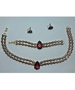 Sterling Art Deco Necklace Bracelet & Screw Earrings w/ Ruby Red Glass S... - $249.99