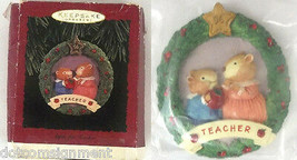 "Hallmark Keepsake Ornament TEACHER ""Apple for Teacher"" Dated Wreath Shaped 1996  - $6.92"