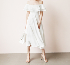 White Midi Chiffon Dress Off Shoulder White Wedding Bridesmaids Midi Dress Plus image 1