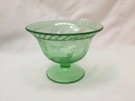 1930's Green Uranium Depression Glass Footed Bowl Candy Dish Compote Etched - $24.75