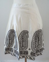 Ann Taylor Petites sz 0P ivory creme white brown paisley embroidery a-li... - $19.98