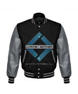 Black Varsity Baseball Genuine Leather Sleeve Letterman College  Men Woo... - $88.99
