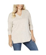 Style & Co. Women's Plus Size Cotton Blend V-Neck Tunic Sweater Taupe Si... - $26.99