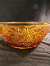 La Tiara Exclusive Amber Glass Bowl With Embossed Flowers Vintage Indiana Glass - $40.10