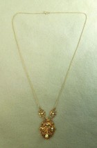 1/20 12K Gold Necklace W/ Imitation Pearls Pendant Necklace Berry Floral... - $44.55