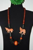 Vintage Oversized Wood Bead Statement Necklace Tribal Eco Folk Chunky J... - $19.97
