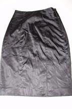 W11370 Womens White House Black Market Shiny Black Satiny Lined Skirt Size 00 - $11.65