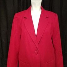 Sag Harbor Woman's Jacket Blazer Red 100% Wool Fully Lined Size 10P Petite - $33.81