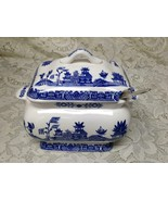 Vintage, 2pc Blue Willow, Small Soup or Gravy Tureen 6.5in x 7.5in x 4.5in - $113.95