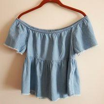 Zara Basic Z1975 Size S 100% Cotton Lt. Blue Denim Fringed Off Shoulder ... - $15.29