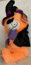 "Halloween Fiesta Bear Orange Fuzzy 11"" Black Cape & Witches Hat Plush To... - $16.82"