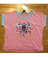 NWT Ralph Lauren Girl's Pink & White Striped Skull & Crossbones Shirt - ... - $18.80