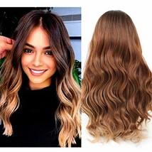 LEKOUUUGU 22 Inches Ombre Brown Wigs for Women Middle Part Long Wavy Wigs for Wo image 1