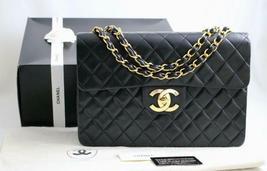 CHANEL Vintage XL Jumbo MAXI Black LAMBSKIN Flap Bag 24K GHW AUTHENTICAT... - $3,480.36