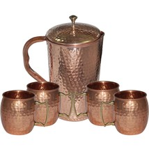Copper Jug with 4 Mug freezer safe gift idea pitcher set Healing yoga di... - $80.78