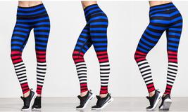 K-Deer Women Red White Blue Susanne Stripe Full Length Leggings, XS-4X