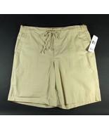 "RALPH LAUREN Size L 12 14 NWT Khaki Cotton 10"" Ribbed Waist Shorts New - $29.00"