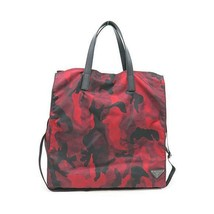 RARE Prada Bag VA905N Tessuto Nylon Camouflage Camo Tote in Bordeaux Red - $459.16 CAD