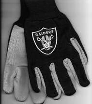 Oakland Raiders team Sport Utility Gloves black gray garden NFL Football... - $17.77