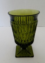 Indiana Glass Mount Vernon Green Pedestal Candy Dish / Water Goblet Squa... - $9.89