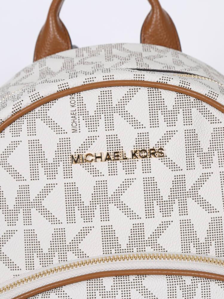 182e47b63216 Michael Kors Abbey Vanilla MK White PVC Women's Large Backpack Bag New $398