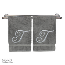 Monogrammed Washcloth Towel,13x13 Inches - Set of 2 - Silver Script - T - $27.44