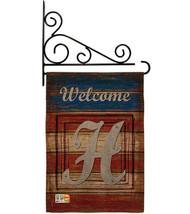 Patriotic H Initial Burlap - Impressions Decorative Metal Fansy Wall Bracket Gar - $33.97