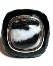 Large Sterling Silver Onyx Snowflake Obsidian Black & White Modernist Huge Ring - $145.00
