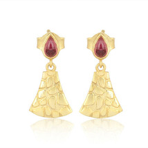 Yellow Gold Plated 925 Silver Pink Tourmaline Gemstone Jaguar Skin Earrings - $20.79