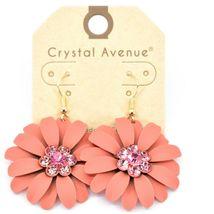 """Crystal Avenue Coral Red Orange Spring Flower 2"""" Drop Dangle Hook Metal Earrings image 3"""