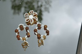 MIRIAM HASKELL vintage Brooch & Earring Set Brown Yellow Swirl Beads & ... - $121.51