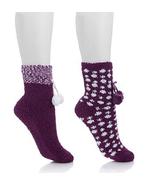 Soft & Cozy 2-pack   Purple Dot Pom Pom Socks 4885858M0 - $14.73