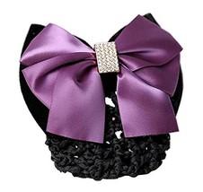 Ladies Beautiful Snood Net Barrette Hairnets Hair Bun Cover, Purple - $13.40