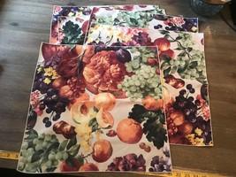Vintage Linen Napkins 5 Fruit Napkin Set 18X18 - $14.03
