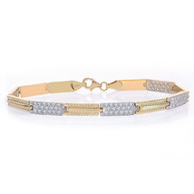 5.2mm 14K Yellow Gold Rectangle Link Chain Diamond Cut Stones - $414.81