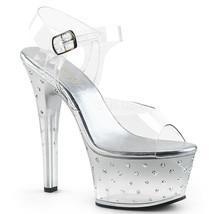 "PLEASER Sexy 6"" Heel Comfortable Silver Clear Rhinestones Platform Sanda... - $59.95"