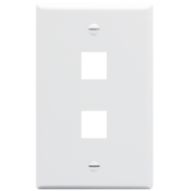 NEW ICC IC107F02WH White Faceplate, Flat, 1-Gang, 2-Port Wall Plate - $1.24
