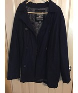 Steve And Barry's The WOOLLY MAMMOTH  PEA COAT JACKET navy blue Size XL ... - $19.79