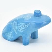 Vaneal Group Hand Carved Kisii Soapstone Fairytale Sky Blue Frog Prince Figure