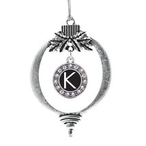 Inspired Silver My Initials - Letter K Circle Holiday Decoration Christmas Tree  - €13,13 EUR