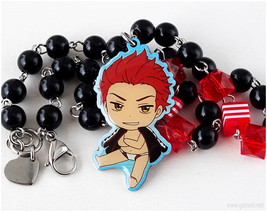 Seijuro Mikoshiba Chibi Character Necklace, Black, Red, Anime Jewelry, FREE - $24.00