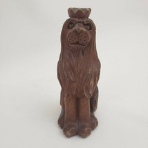 Jose Pinal LION king art wood carving figurines signed Mexican artist  - $114.00