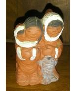 Eskimo / Inuit Terracotta Sculpture Eija Seras Canada Vintage - $22.03