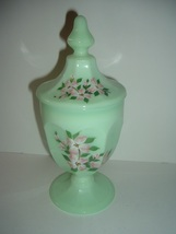 Westmoreland Jadeite or Mint Green with Dogwood Decal Lidded Compote - $45.00
