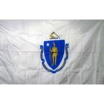 Massachusetts State Flag 3 x 5 quality + 6 ft Woodgrain Pole + Mount mad... - $29.65