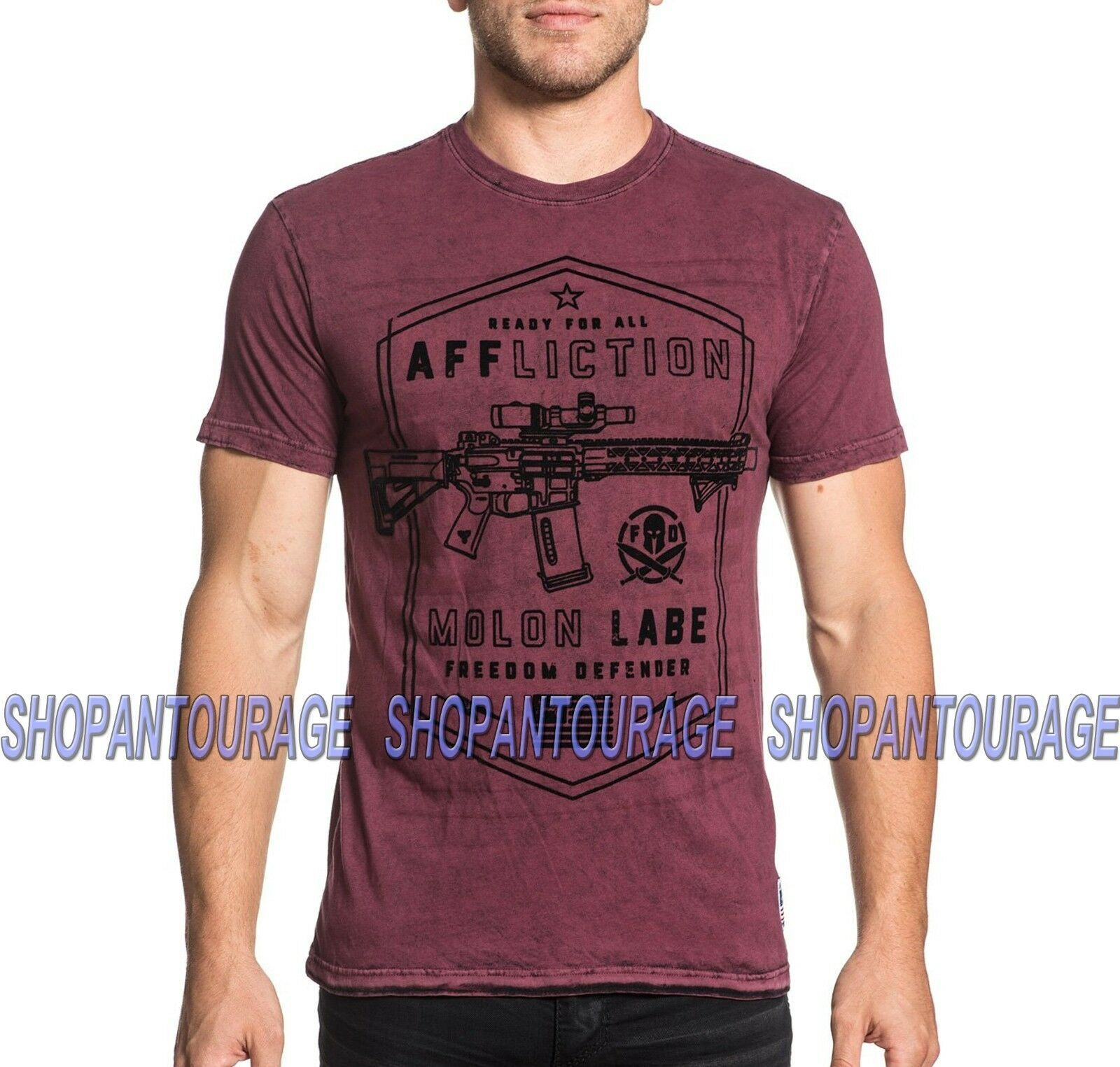 Primary image for Affliction Molon Labe A18467 New S/s GI Foundation Reversible T-shirt For Men