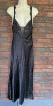 Victoria's Secret Black Gown Small Lace Bodice Spaghetti Strap Silky Gol... - $24.50