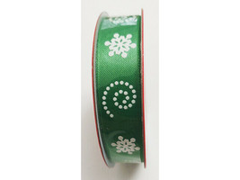 """Christmas House Green with White Snowflakes Ribbon, 5/8"""" x 3 Yards"""