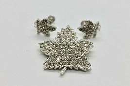 Vintage Keyes Brooch Earrings Set Maple Leaf Rhinestones Costume Jewelry... - $49.95