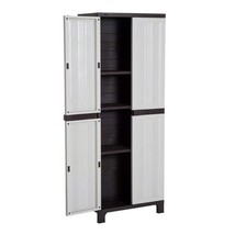 Tall Storage Shed Utility Cabinet Adjustable Shelves Double Door Plastic... - $159.73